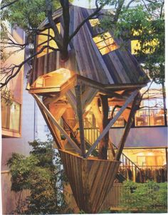 Adorable 37 Comfy Contemporary Treehouse Design Ideas That Passed A Roaring River Crazy Houses, Cool Tree Houses, Tiny Houses, Amazing Architecture, Architecture Details, Modern Tree House, Tree House Designs, Small Buildings, Tree Tops