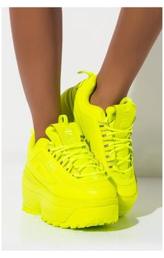 Neon Shoes, Hype Shoes, Women's Shoes, Shoes Sneakers, Flat Shoes, Neon Yellow Shoes, Ballet Shoes, Chunky Shoes, Chunky Sneakers