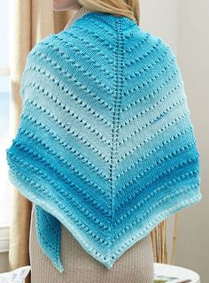 Free Knitting Pattern for Easy Ombre Lace Triangle Shawl