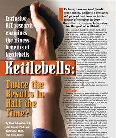 Great article about the benefits of kettlebell training, by ACE