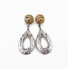 fd606126d Taxco Mexico Sterling Silver Hoop Dangle Earrings, Laton, Mexican Sterling,  Gold Plated,