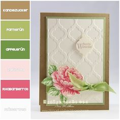speckled blossoms stamp set with mosaic embossing folder. Reminds me of and English garden