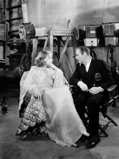 Greta Garbo & John Barrymore on the set of Grand Hotel (1932)
