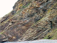 "Millook Haven Beach, England.  The coastal section through north Cornwall into Devon that runs to Bude and Hartland Point contains a spectacularly folded series of inter-bedded sandstones and shales originally deposited deeply under water.  The folds are recumbent and have a characteristic ""chevron"" kinky shape that tends to form when strongly layered rocks are buckled."