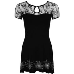 BANNED LAST DANCE BLACK SPIDER GOTHIC SKATER MINI DRESS ❤ liked on Polyvore featuring dresses, gothic lolita dress, short dresses, gothic clothing dresses, short skater dress and goth dresses