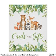 Woodland Animals Greenery Baby Shower Cards Gifts Poster