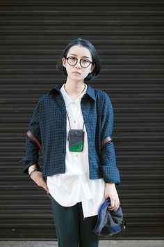Glasses + layering with checkered loose casual top  | @printedlove