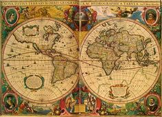 Henricus Hondius's ornately decorated world map