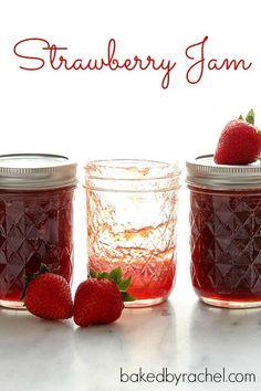 Homemade Strawberry Jam Recipe {with canning instructions} from bakedbyrachel.com
