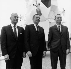 Buzz Aldrin, Neil Armstrong, and Michael Collins (left to right) are selected to crew Apollo 11, in February 1969.  The dapper astronauts of Apollo 11.