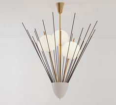 Angelo Lelli;  Brass, Glass and Enameled Metal Ceiling for Arredoluce, c1950.