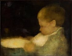 Little boy eating by Jan Mankes 1889-1920