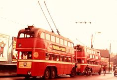 London transport SA3's 1757 & 1758 on route 691 are seen at Barking Broadway 1950's.