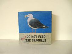 The seagull  retro wooden decoupage box  summer by ArtandWoodShop