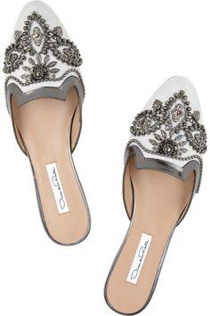 Oscar de la Renta|Spanish Mule embellished linen and leather slippers