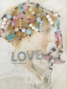 voyagerupcycled repurposed beaded necklace tons of glass by Arey