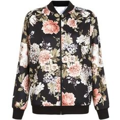 New Look Cameo Rose Floral Print Scuba Bomber Jacket
