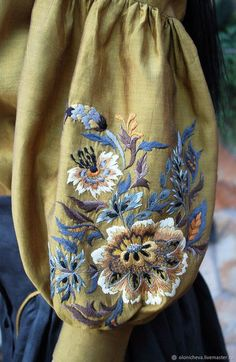 """Buy Exclusive set of hand-embroidered """"amber glow"""" - gold, kvitka, embroidered blouse Embroidery On Clothes, Embroidered Clothes, Embroidery Dress, Embroidered Blouse, Beaded Embroidery, Floral Embroidery, Embroidery Suits Design, Hand Embroidery Designs, Embroidery Patterns"""
