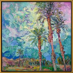 $5,900 30 x. 30. Palms and Clouds in a gold floater frame.