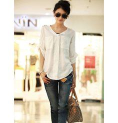 Graceful V-Neck Epaulet Embellished Solid Color 3/4 Sleeve Plus Size Women's Shirt, WHITE, M in Blouses | DressLily.com