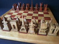 Hecho a mano, Set de ajedrez de monumentos, de OOTWScrolling en Etsy, $269.00