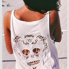 skull cut out shirt