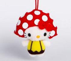 Hello Kitty Plush Holiday Ornament: Mushroom