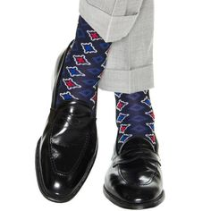 Dapper Classics Black with Clematis Blue Foulard Cotton Sock Linked Toe