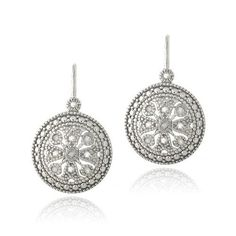 Sterling Silver 1/10ct Diamond Round Filigree Leverback Earrings