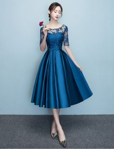 DongCMY New Arrival 2019 Short bule Color Prom dress Elegant Party Women Evening Dresses-in Prom Dresses from Weddings & Events on AliExpress Evening Dresses With Sleeves, Women's Evening Dresses, Blue Homecoming Dresses, Bridesmaid Dresses, Skater Dresses, Blue Wedding Guest Dresses, Dress Wedding, Party Wedding, Wedding Colors