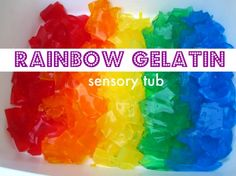 Rainbow Gelatin Sensory Tub- seriously fun and not too messy. What was the last gooey fun thing you did with your kids? Sensory Tubs, Sensory Boxes, Sensory Activities, Sensory Play, Preschool Activities, Infant Sensory, Babysitting Activities, Rainbow Activities, Nursery Activities