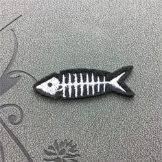 Fish bone Embroidered Iron-On Patches sew on patches Patches for cloth