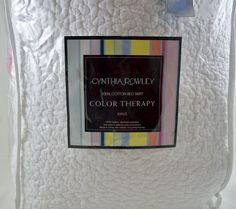 Cynthia Rowley King White Bed Skirt EUC Color Therapy HTF