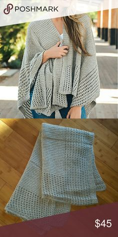 Lovely Oatmeal Gray Knit Ruana Shrug Effortless style! Gorgeous, soft knit ruana. Very soft knit with open pattern. NWT. One size fits most. Sweaters Shrugs & Ponchos