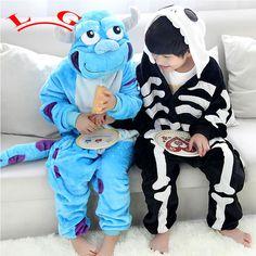 L G kid Monsters Sulley Sullivan Animal pajamas children Onesie skull flannel pajamas sleepwear Cosplay Costumes Jumpsuit Hallow #Affiliate