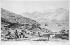 Ref: PUBL-0001-2 Fox, William 1812-1893 :Port Lyttelton. Passengers by the 'Cressy' landing. Etched by T. Allom. From a drawing by Wm Fox Esq.r. London, John...