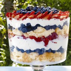 Trifle Patriotic Berry Trifle: Use store-bought angel food cake to cut down on the prep time for Sunny Anderson's colorful trifle.Patriotic Berry Trifle: Use store-bought angel food cake to cut down on the prep time for Sunny Anderson's colorful trifle. Memorial Day Desserts, 4th Of July Desserts, Just Desserts, Trifle Desserts, Summer Desserts, Trifle Cake, Patriotic Desserts, Blue Desserts, Fruit Trifle