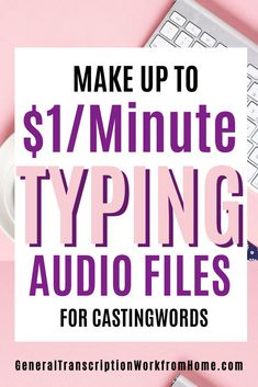Make $1 per audio minute typing audio files. No experience transcription jobs for beginners at Castingwords. Read my review. #typingjobs #typingjobsfromhome  #transcription #transcriptionjobs #dataentryjobs #noexperience  #beginners #makemoneyathome #makeextracash  #sidehustles #sidejobs Typing Jobs From Home, Online Typing Jobs, Online Side Jobs, Best Online Jobs, Transcription Jobs From Home, Transcription Jobs For Beginners, Earn More Money, Earn Money From Home, How To Make Money