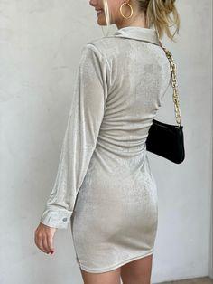 #buttonupdress #shimmerdress New Arrival Dress, Button Up Dress, I Feel Pretty, Long Sleeve Mini Dress, Button Downs, Chloe, Buttons, Swimwear, Sleeves