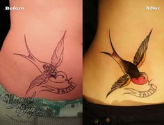 Love the old school swallows. I want one with 3 nautical stars to represent my hubby and 2 kids.