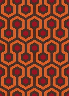 """Shining carpet, sixteen tiles. This is from a blog.  It references the carpet on which a child plays in a key ghost scene in """"The Shining""""  I see that I'm not the only one who was interested in the carpet shown in this scene."""