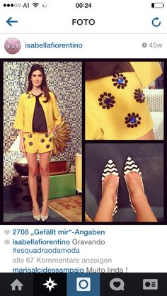 Love the idea of yellow and blackout fit with the white geometrical printed on the pumps. Isabella Fiorentino.