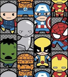 Marvel Kawaii Stripe Cotton Fabric