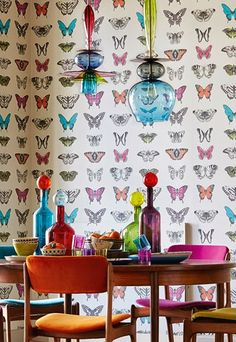 print & pattern love the glass pendants and bottle stoppers. Funky Wallpaper, Kitchen Wallpaper, Butterfly Wallpaper, Butterfly House, Butterfly Print, Tropical Design, Home Decor Furniture, Room Colors, Interior Inspiration