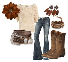Thanksgiving ~ Country A fashion look from November 2012 featuring white crochet top, torn jeans and real leather boots. Browse and shop related looks. Country Girls Outfits, Country Girl Style, Country Fashion, Cowgirl Outfits, Cowgirl Clothing, Cowgirl Fashion, Country Chic, Country Wear, Estilo Cowgirl