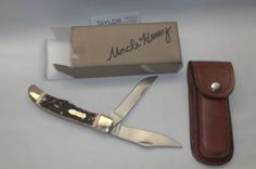 Schrade Uncle Henry Stag Folding Bowie 2 Blade Knife Sheath and Box New! 227UH #Schrade #Knife