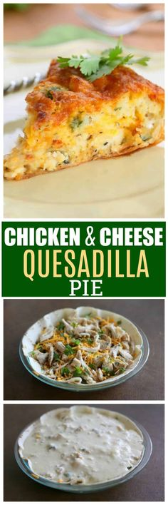 This Chicken and Cheese Quesadilla Pie is a quiche/quesadilla which means you can eat it for breakfast or dinner. The flavors in this Mexican recipe are simple but tasty. #cincodemayo the-girl-who-ate-everything.com