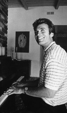 Clint Eastwood at home in the Hollywood Hills, CA, Clint Eastwood, Rocky Balboa, Christina Hendricks, Jason Statham, Al Pacino, Piano Player, Playing Piano, Einstein, The Expendables