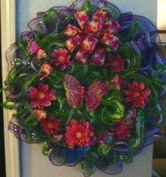 Deco Poly Mesh Wreath Instructions | Wreath-Summer-Door-Deco-poly-Mesh-Purple-Pink-Geo-25-inch-Butterflies ...