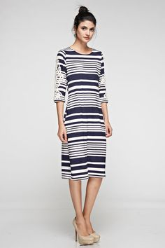 Stripes   Lace Midi Dress
